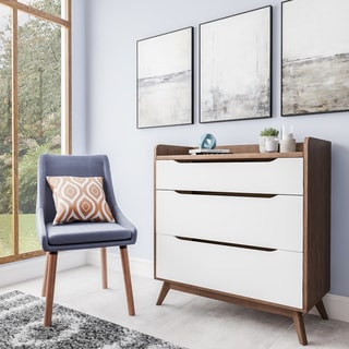Mid-Century White and Walnut 3-Drawer Chest by Baxton Studio