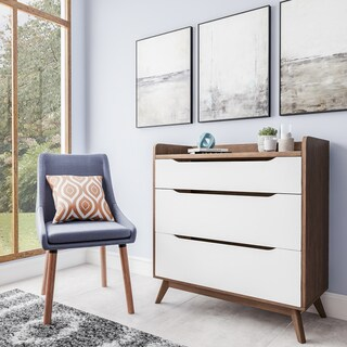 Carson Carrington Borlange Mid-century White and Walnut 3-drawer Chest