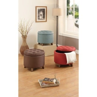 Amalia Fabric Button-tufted Round Storage Ottoman