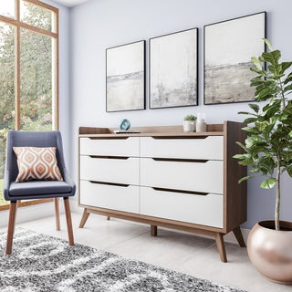 midcentury white and walnut 6drawer chest by baxton studio