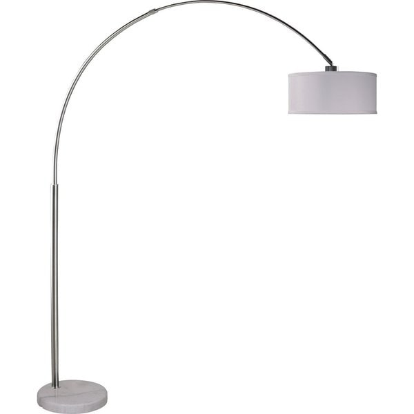 Q-Max Brushed Steel Adjustable Arching Floor Lamp with White Shade and White Marble Base