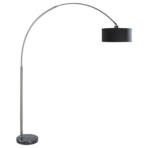 Q-Max Steel Adjustable Arching Floor Lamp with Black Shade and Black Marble Base