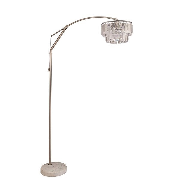 Q-Max Steel Marble Base 81-inch-high Adjustable Arching Floor Lamp