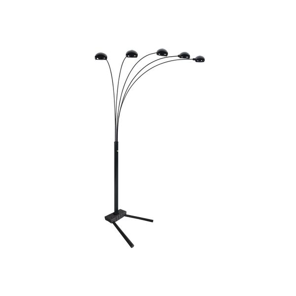 Q-Max Black Metal Modern 5-arm Floor Lamp