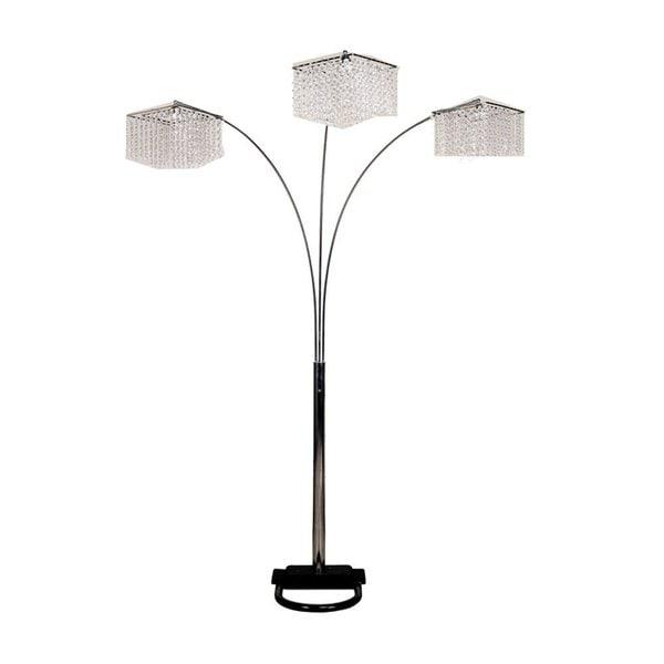 Q-Max Faux Crystal Triple Drop Floor Lamp