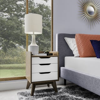 Mid-Century White and Walnut Nightstand by Baxton Studio
