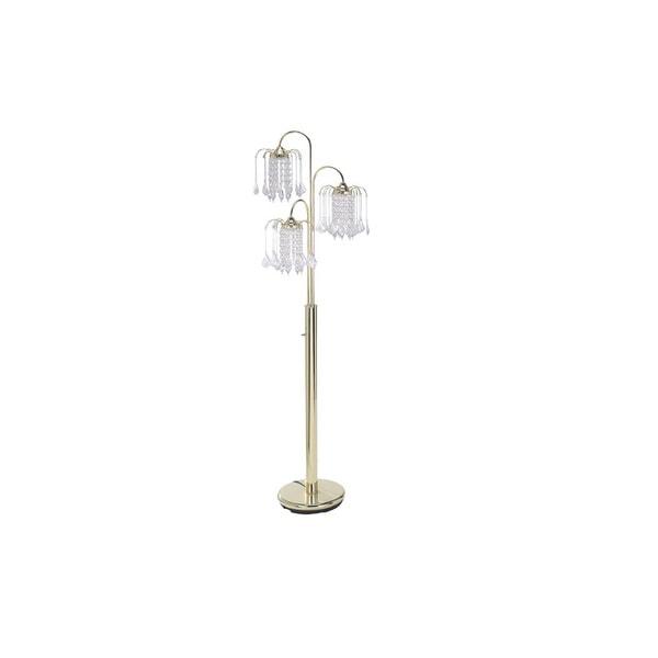 Q-Max Fancy Chandelier Style Gold Metal 63-inch 3-light Floor Lamp