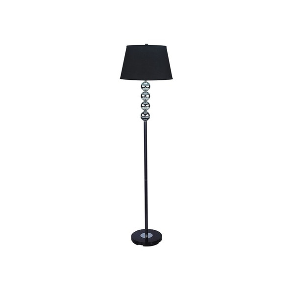 Q-Max Orb Black Metal 62-inch High Floor Lamp with Black Shade