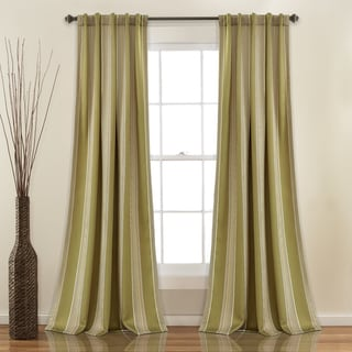 Lush Decor Julia Striped Room Darkening Window Curtain Panel Pair - 52W x 84L (Green)