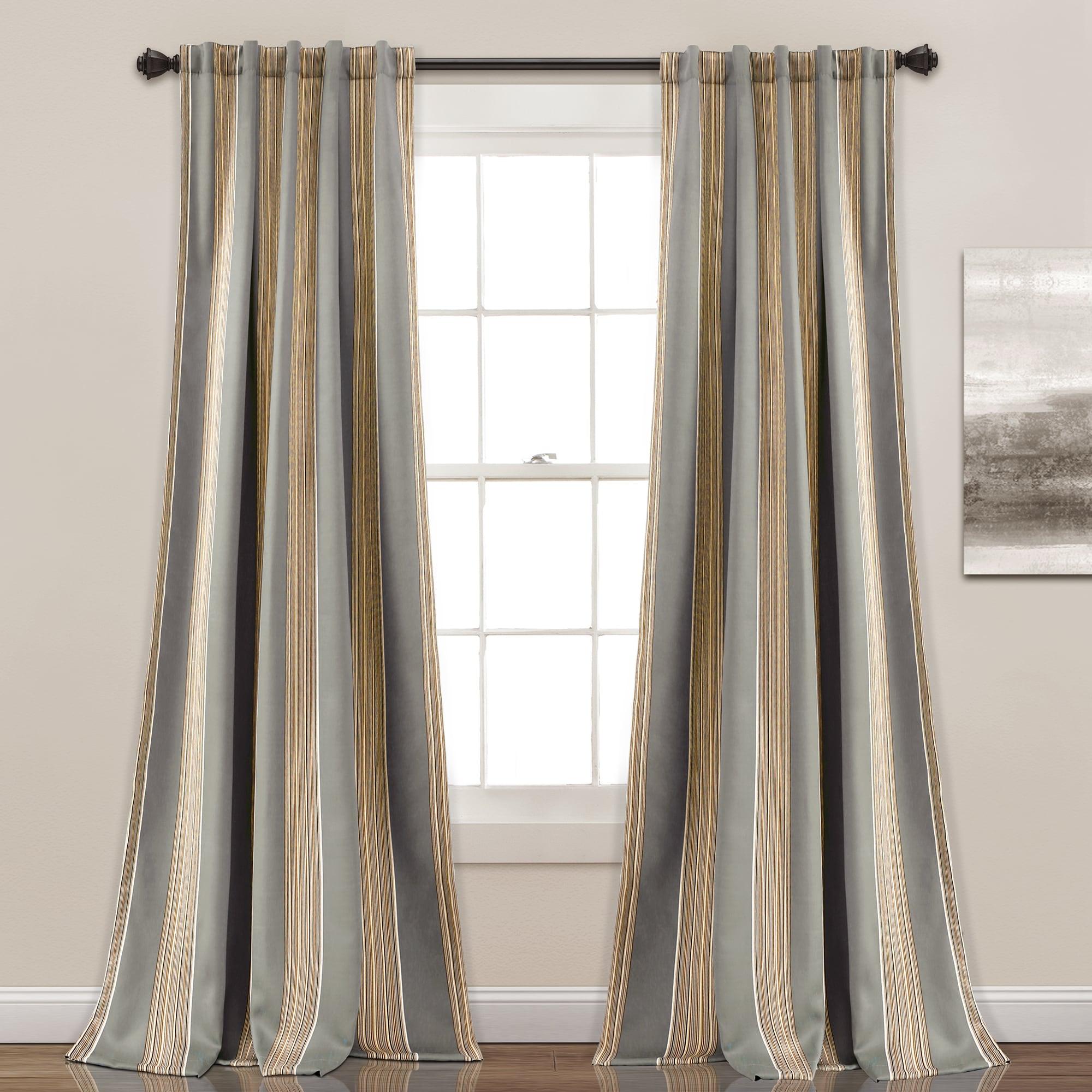 Lush Decor Julia Striped Room Darkening Window Curtain Panel Pair 52 W X 84 L 52 W X 84 L Overstock 15926197