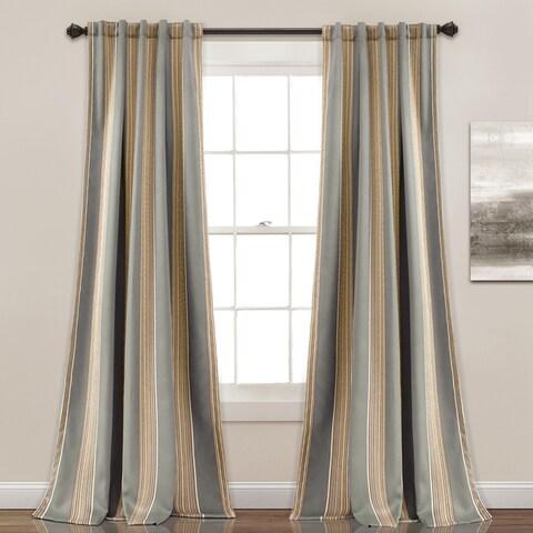 """Lush Decor Julia Striped Room Darkening Window Curtain Panel Pair - 52""""W x 84""""L"""