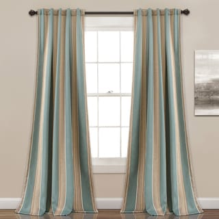 Lush Decor Julia Striped Room Darkening Window Curtain Panel Pair