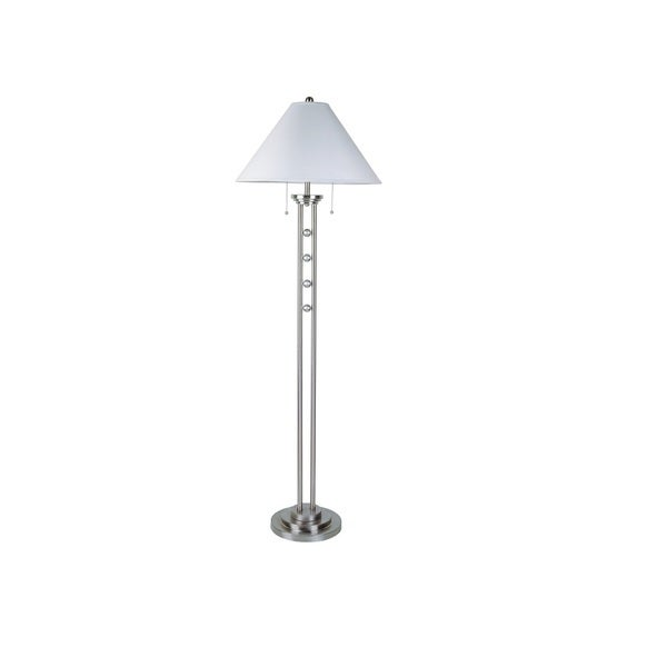 Q-Max SilverStone Modern Lux Silver Metal 63-inch Floor Lamp