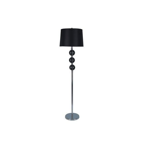 Q-Max Black Triple-orb Lux Floor Lamp with Chrome Base