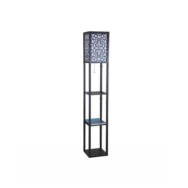 Q-Max Black Wooden 63-inch Column Shelf Floor Lamp