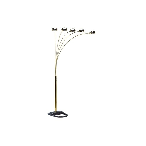 Q-Max Gold Metal Modern Arms Arch Floor Lamp