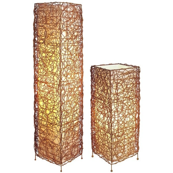 Q-Max Vine Style Brown Linen Shade 47-inch High Floor Lamp