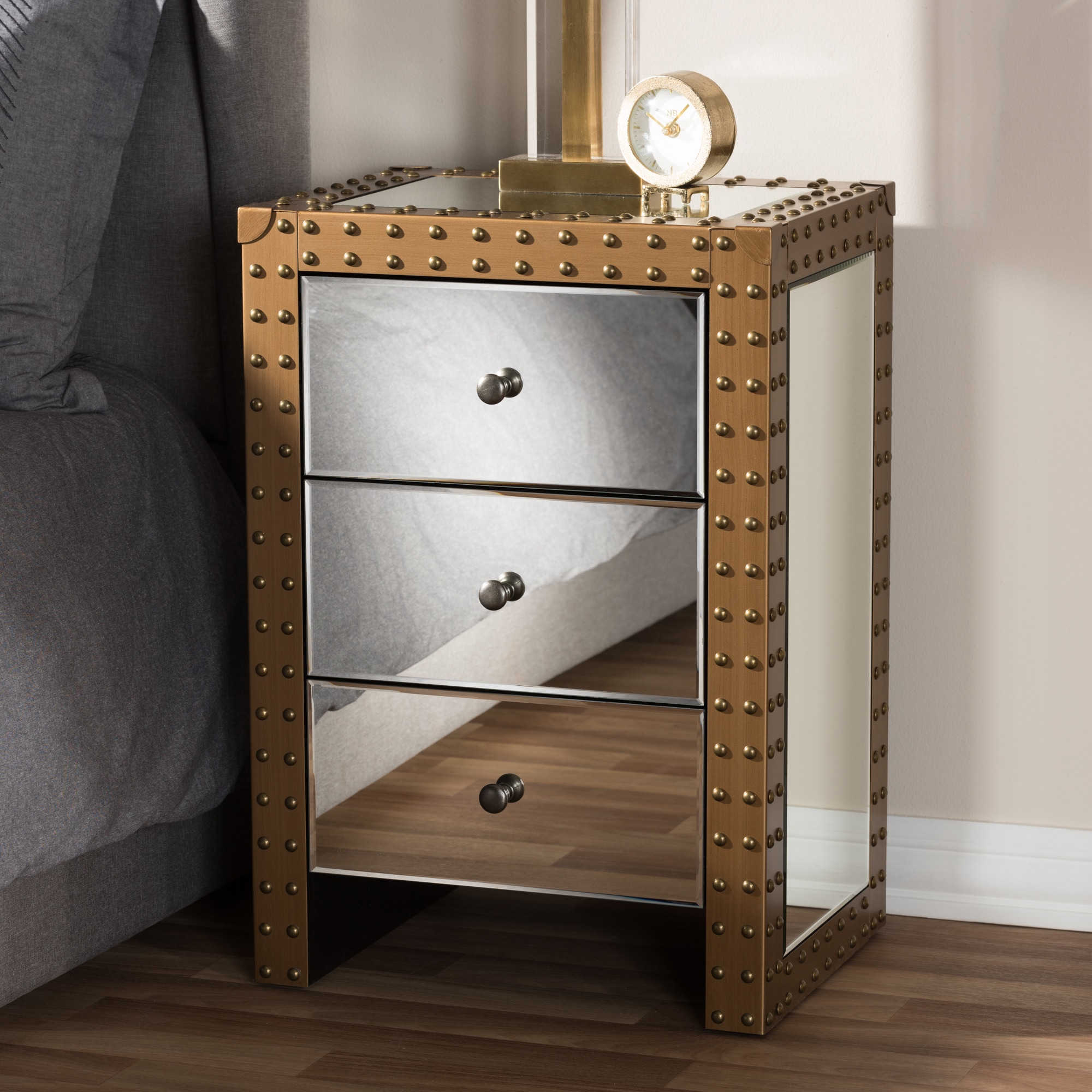 Rustic Industrial Style Mirrored Nightstand By Baxton Studio Overstock 15926234