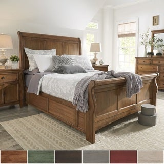 Ediline Queen Size Wood Sleigh Platform Bed by iNSPIRE Q Classic