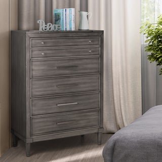 Furniture of America Hax Transitional Grey Solid Wood 5-drawer Chest