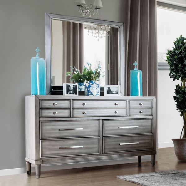 Furniture of America Kerilan Transitional 2-piece Grey 7-drawer Dresser and Mirror Set
