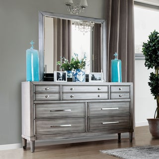 Furniture of America Kerilan Transitional 2-piece Grey 7-drawer Dresser and Mirror Set