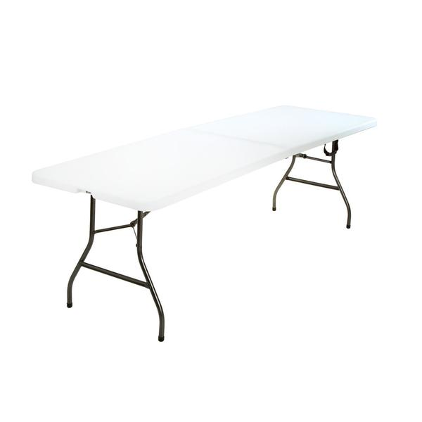COSCO Deluxe 8 foot x 30-inch Fold-in-Half Blow Molded Folding Table