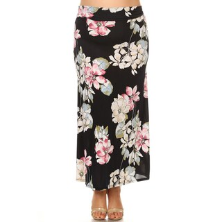 Women's Plus Size Black Floral Maxi Skirt