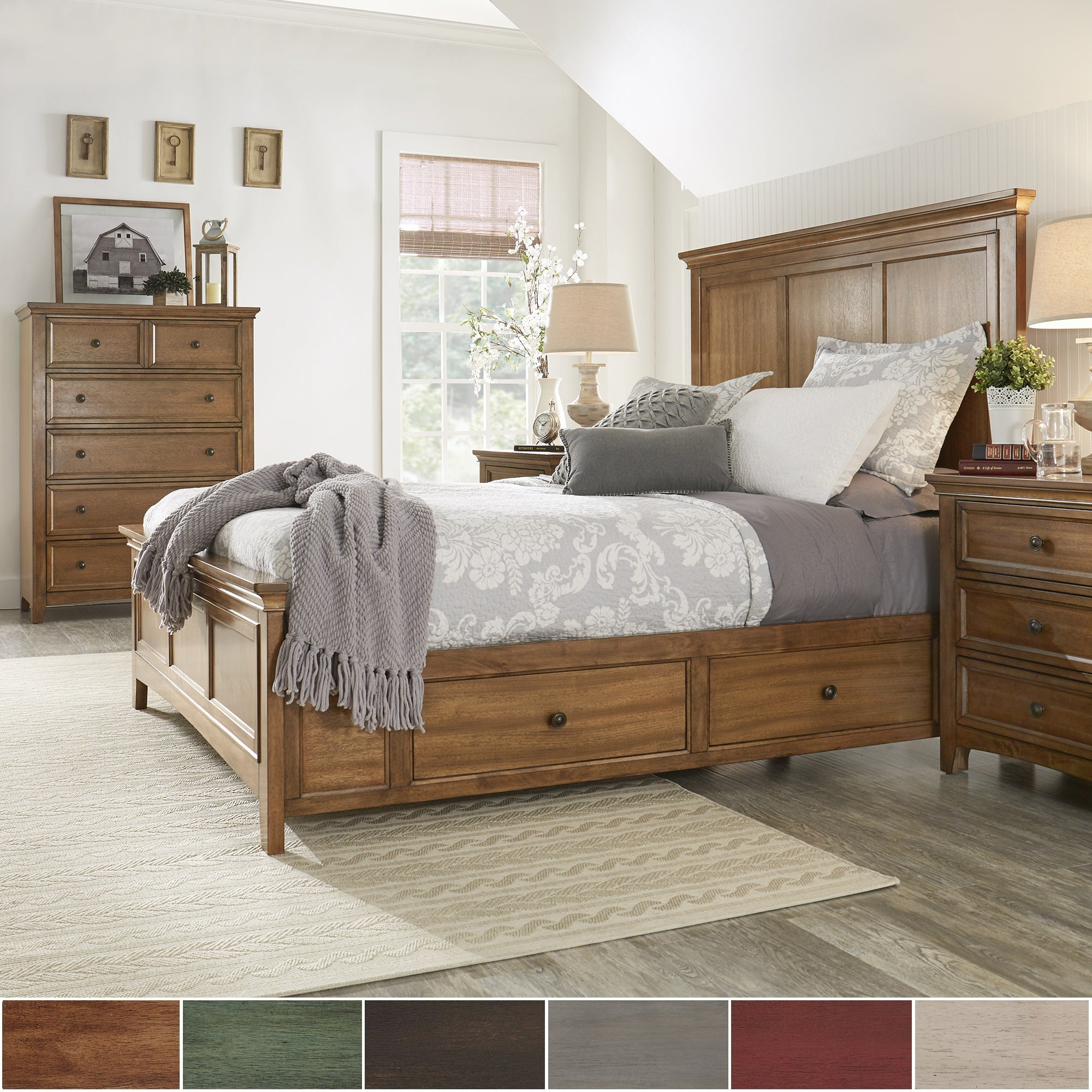 Ediline Queen Size Wood Panel Platform Storage Bed by iNS...