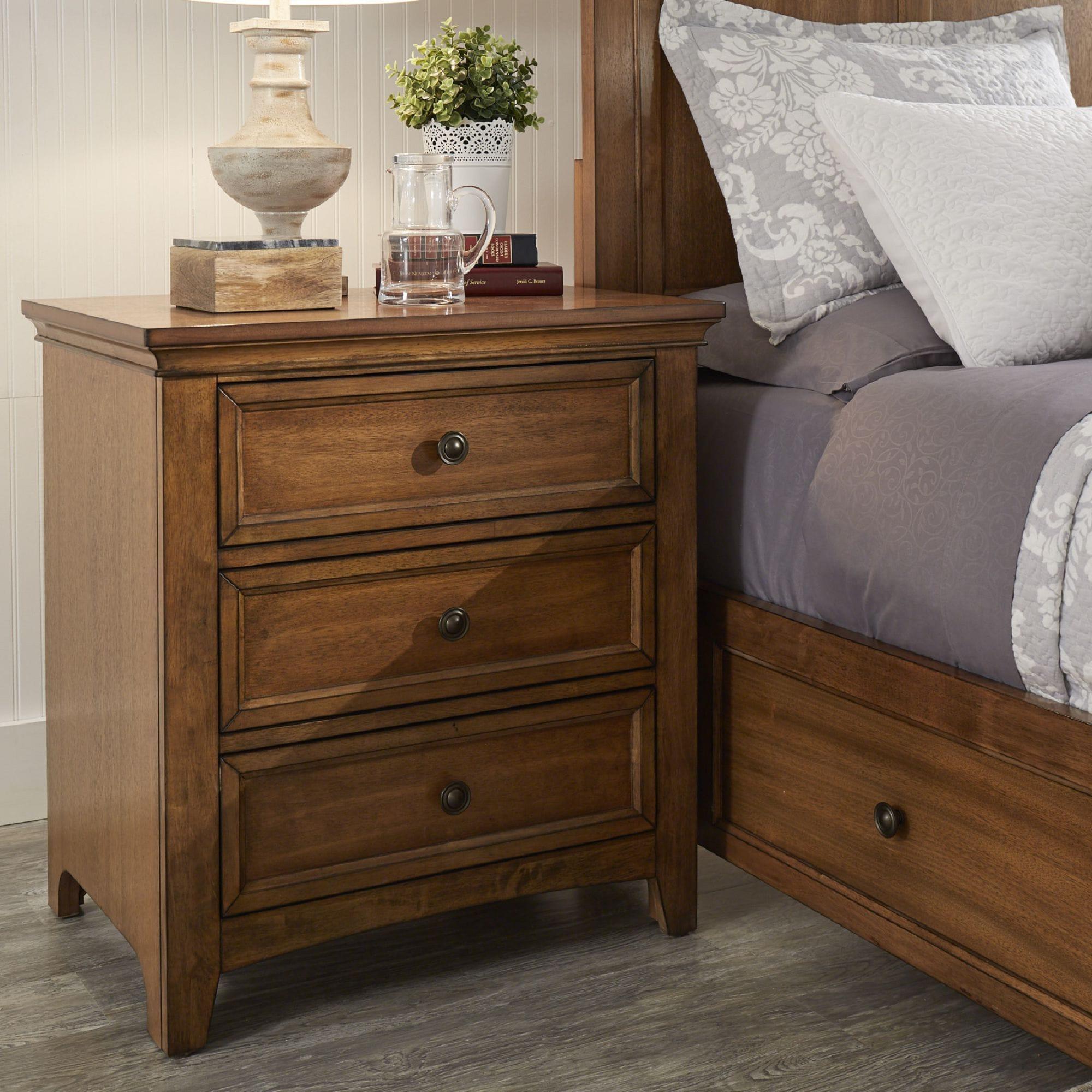 Ediline 3-drawer Wood Modular Storage Nightstand with Cha...