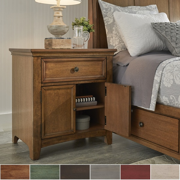 Ediline 1 Drawer Wood Cupboard Nightstand With Charging Station By INSPIRE  Q Classic