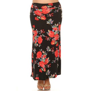 Women's Plus Size Black Floral Maxi Skirt|https://ak1.ostkcdn.com/images/products/15926272/P22328155.jpg?impolicy=medium
