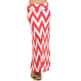 Women's White and Coral Chevron Striped Maxi Skirt