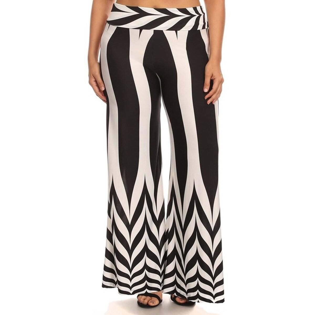 Women's Plus Size Black White Chevron Palazzo Pants (XL)