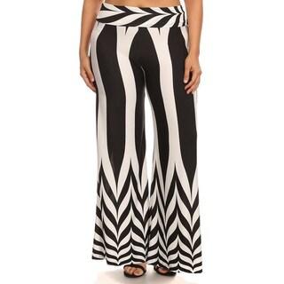 Women's Plus Size Black White Chevron Palazzo Pants