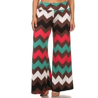 Women's Plus Size Chevron Multicolor Palazzo Pants