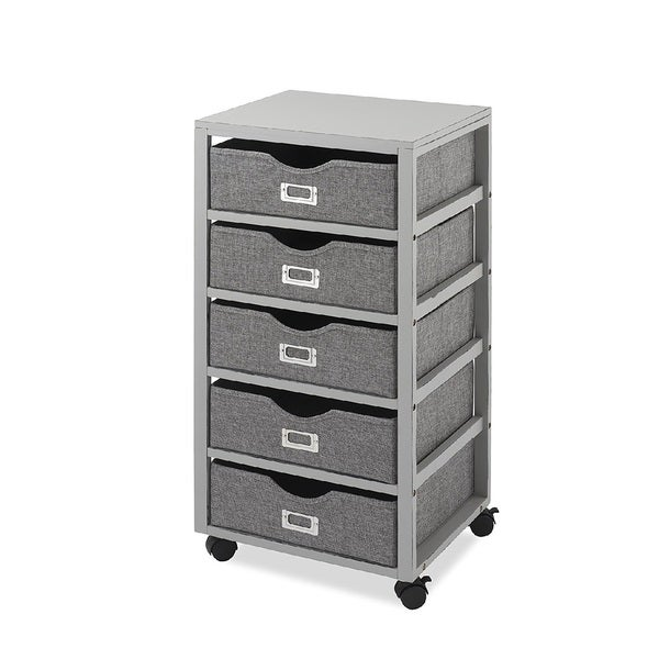 Bon Whitmor 5 Drawer Storage Cart, Gray
