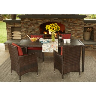 Handy Living Aldrich Brown Indoor/Outdoor 5 Piece Rectangle Dining Set With  Sunbrella Terracotta Cushions