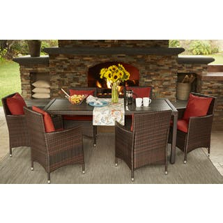 Handy Living Aldrich Brown Indoor/Outdoor 7 Piece Rectangle Dining Set with Sunbrella Terracotta Cushions|https://ak1.ostkcdn.com/images/products/15926360/P22328249.jpg?impolicy=medium