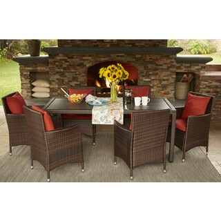 Handy Living Aldrich Brown Indoor/Outdoor 7 Piece Rectangle Dining Set with Sunbrella Terracotta Cushions