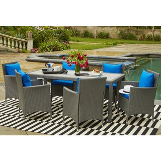 Handy Living Aldrich Grey Indoor/Outdoor 7 Piece Rectangle Dining Set with Sunbrella Pacific Cushions