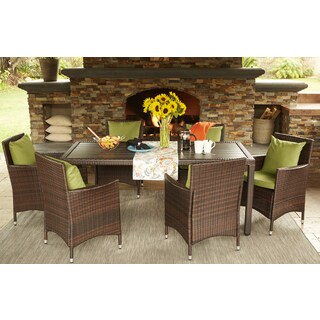 Handy Living Aldrich Brown Indoor/Outdoor 7 Piece Rectangle Dining Set with Sunbrella Cilantro Cushions