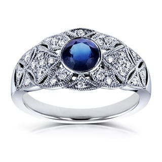 Annello by Kobelli 14k White Gold 5/8ct TGW Bezel Sapphire and Diamond Vintage Engagement Ring