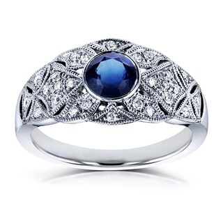 Annello by Kobelli 14k White Gold 5/8ct TGW Bezel Sapphire and Diamond Vintage Wide Engagement Ring
