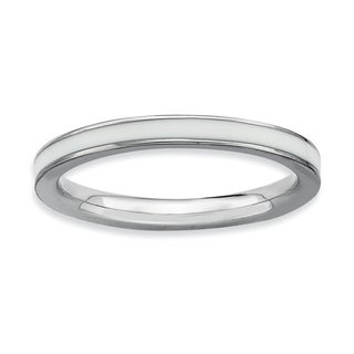 Sterling Silver Affordable Expressions White Enameled 2.25Mm Ring