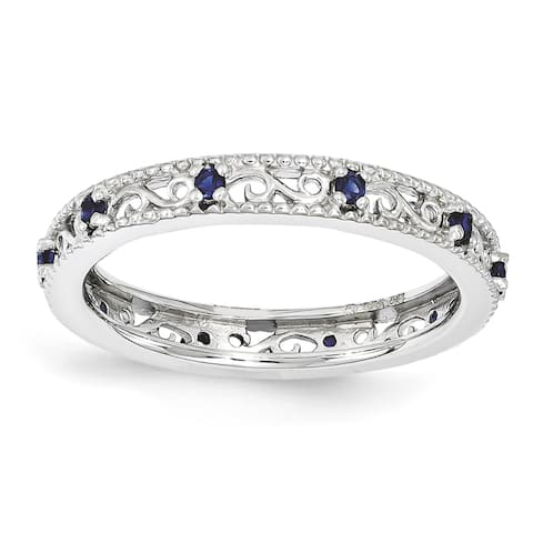 Sterling Silver Rhodium-plated Stackable Created Sapphire Ring by Versil