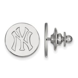 Sterling Silver MLB LogoArt New York Yankees Lapel Pin
