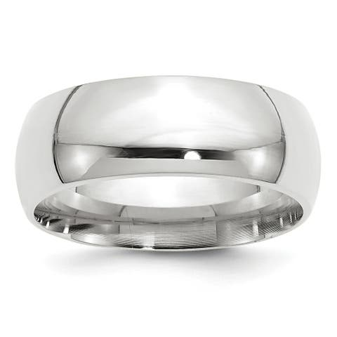 14 Karat White Gold 8mm Comfort-Fit Band by Versil