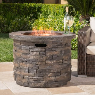 Blaeberry Outdoor Natural Stone Propane Fire Pit with Lava Rocks by Christopher Knight Home