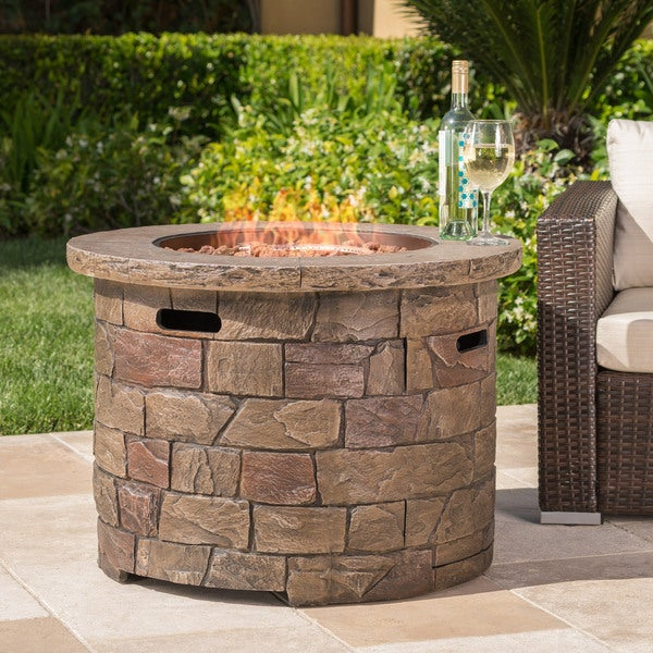 Stillwater Outdoor Natural Stone Propane Fire Pit with Lava Rocks by Christopher Knight Home